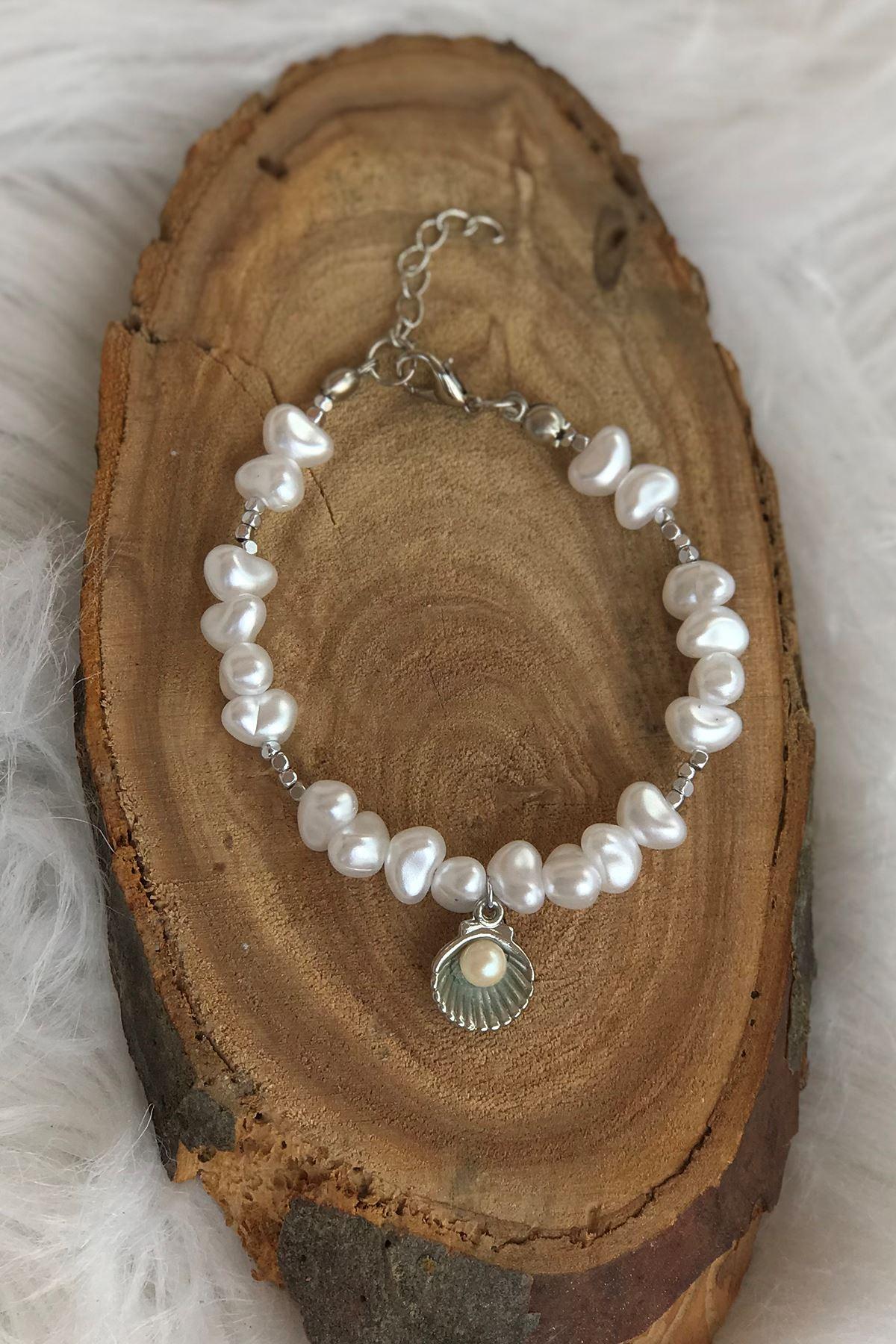 İncili Deniz Kabuğu Bileklik Gümüş