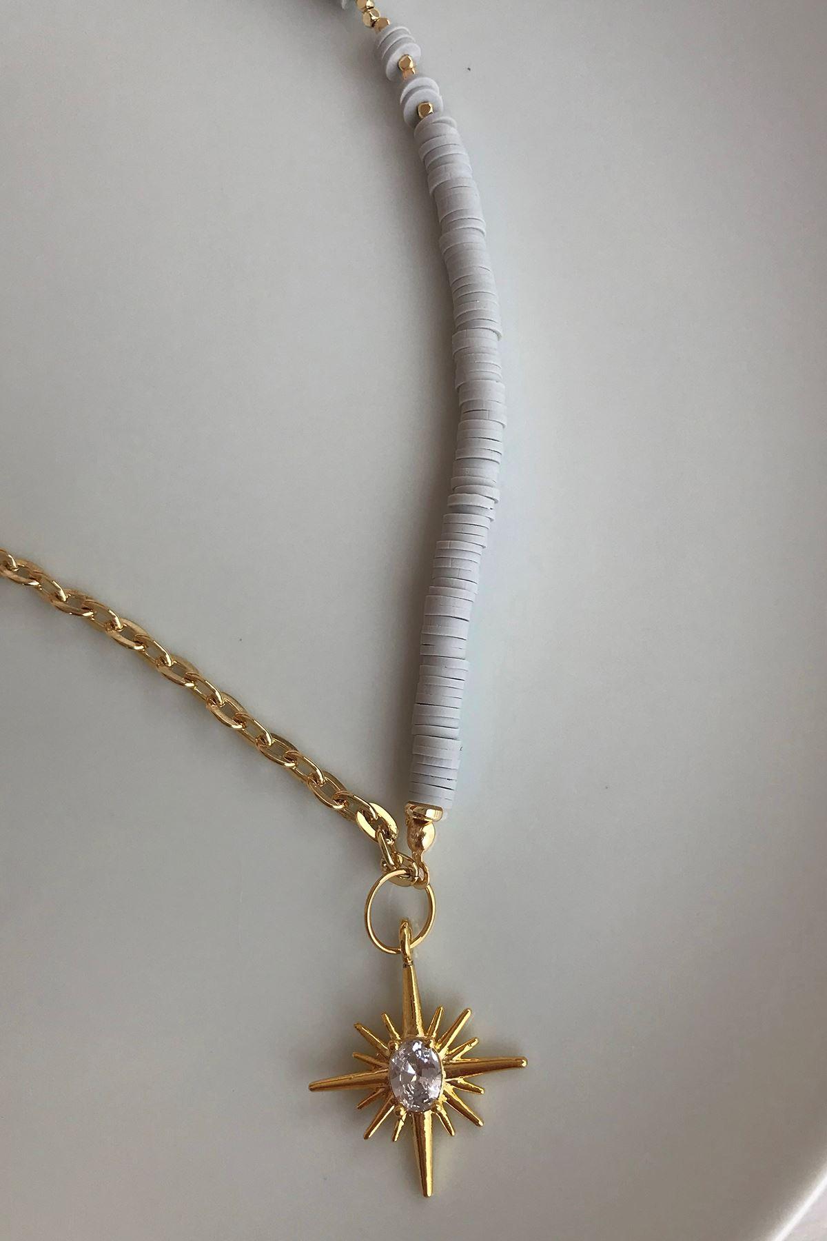 Kutup Yıldızlı Fimo Zincir Kolye Beyazgold
